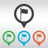 inbandieri l'elemento di simbolo del segno della mappa del segno del sito Web dell'icona perno della mappa dell'icona Fotografie Stock Libere da Diritti
