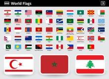 Inbandieri le icone del mondo con i nomi in ordine alfabetico royalty illustrazione gratis