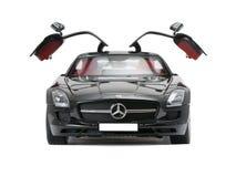 Inbare sportwagen Mercedes met open deuren Stock Fotografie