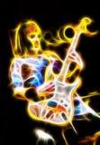Inbillad gitarrist royaltyfri illustrationer