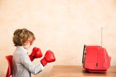 Inbillat barn att vara affärsman Fotografering för Bildbyråer