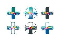 Inbindningslogo, inbindningssymbol och chiropracticbegreppsdesign vektor illustrationer