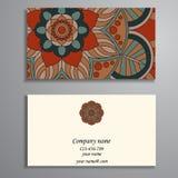 Inbjudan, affärskort eller baner med textmallen Rund fl Royaltyfri Foto