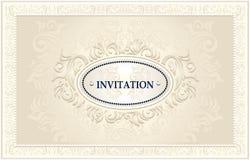 Inbjudan- eller bröllopram med blom- bakgrund royaltyfri illustrationer
