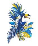 Inbjudan för affisch för parti för sommar för vektorillustration tropisk blom- Royaltyfria Bilder