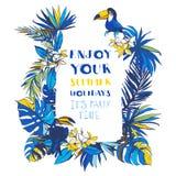 Inbjudan för affisch för parti för sommar för vektorillustration tropisk blom- Arkivbild