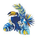 Inbjudan för affisch för parti för sommar för vektorillustration tropisk blom- Royaltyfri Foto