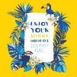 Inbjudan för affisch för parti för sommar för vektorillustration tropisk blom- Royaltyfri Bild
