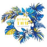 Inbjudan för affisch för parti för sommar för vektorillustration tropisk blom- Royaltyfri Fotografi