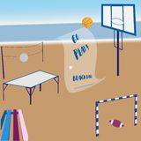 Inbjudan för att spela strandbollen eller att göra affär med sportsliga hjälpmedel royaltyfri illustrationer