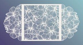 Inbjudan för bröllop för laser-snittvektorn med orkidén blommar för dekorativ panel royaltyfri illustrationer