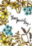 Inbjudan för bröllop för vektorn för tappningvattenfärgen steg den blom- med engelska rosor och vildblommor, botaniskt naturligt stock illustrationer