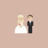 Inbjudan för bröllopkort med nygifta personer i lägenhet Arkivbild