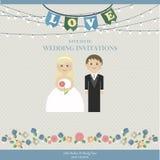 Inbjudan för bröllopkortet med bröllop figurerar nygifta personer i plan stil Royaltyfria Bilder