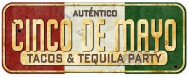 Inbjudan för Cinco De Mayo Taco Party Sign Grungetappning royaltyfria bilder
