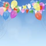 Inbjudan för födelsedagkort med ljusa ballonger och flaggor Garnering för trädgårds- parti vektor illustrationer