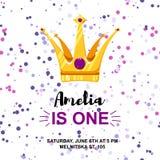 Inbjudan för födelsedagkort med tecknad filmkronan på konfettibakgrund royaltyfri illustrationer