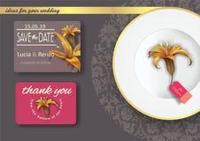 Inbjudan för förbindelse, med liljadesign Royaltyfri Bild
