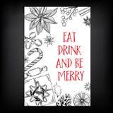 Inbjudan för julparti extra ferie för kortformat stock illustrationer