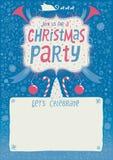 Inbjudan för julparti, hälsningkort, affisch eller bakgrund med handbokstävertypografi Royaltyfri Foto