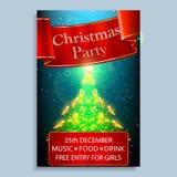 Inbjudan för julparti Ljus julaffisch med guld- stjärnor och det röda bandet royaltyfria foton