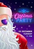 Inbjudan för julparti med kalla Santa Claus stock illustrationer