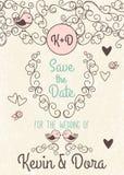 Inbjudan för klotterstilbröllop med den förälskelsefåglar och monogrammet stock illustrationer