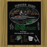 Inbjudan för läger för kritabräde för att fiska Arkivbild