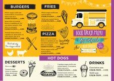 Inbjudan för matlastbilparti Design för matmenymall Matfluga Arkivfoton