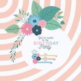Inbjudan för parti för lycklig födelsedag med blom- garnering Royaltyfri Foto