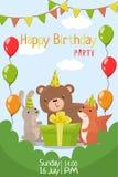 Inbjudan för parti för lycklig födelsedag med illustrationen för datum-, reklamblad- eller affischmallvektor royaltyfri illustrationer