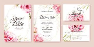 Inbjudan för rosa färgrosbröllop vattenfärg för stil för bambuillustration japansk vektor stock illustrationer
