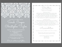Inbjudan för silverbröllopinbjudankort med prydnader Fotografering för Bildbyråer
