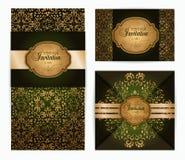 Inbjudan för stil för vektortappning lyxig barock damast, hälsningkortdesign Arkivfoton
