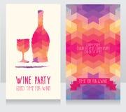 Inbjudan för vinparti Arkivbilder