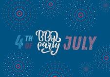 Inbjudan f?r bokst?ver f?r Juli 4th BBQ-parti till den amerikanska sj?lvst?ndighetsdagengrillfesten med Juli 4th garneringstj?rno stock illustrationer