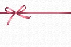 Inbjudan-, hälsning- eller gåvakort med det rosa bandet och en pilbåge på dekorativ beståndsdelbakgrund royaltyfri illustrationer
