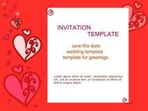 Inbjudan-hjärta-röd-bakgrund Royaltyfri Fotografi