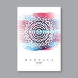 Inbjudan mall för bröllopkort med den hand drog mandalaen Arkivbild