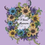 Inbjudan med den blom- prydnaden royaltyfri illustrationer