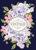 Inbjudan med färgrika blommor Royaltyfri Bild