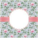 Inbjudan med illustrationen av rosblomman Arkivbild