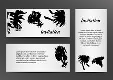 Inbjudan med inkblots på vit bakgrund Fotografering för Bildbyråer