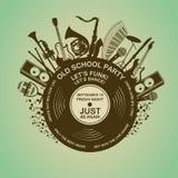 Inbjudan med musikinstrument och vinylrekordet Royaltyfri Foto
