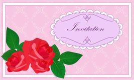 Inbjudan med rosor Royaltyfria Foton