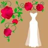 Inbjudan som dekoreras med bröllopsklänningen på tappningbakgrund vektor vektor illustrationer