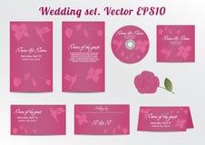 Inbjudan sparar datumkortuppsättningen - för att gifta sig Arkivbilder