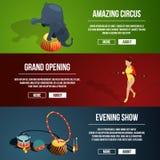 Inbjudan till den magiska showen för cirkus Uppsättning för tre horisontalvektorbaner i tecknad filmstil stock illustrationer