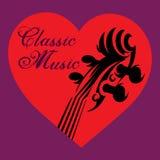 Inbjudan till konserten av klassisk musik med fiolen i hjärtan Arkivfoton