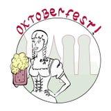Inbjudan till mest oktoberfest med en flicka stock illustrationer